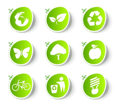 Eco round label and sticker collection Stock Vector - 9611725