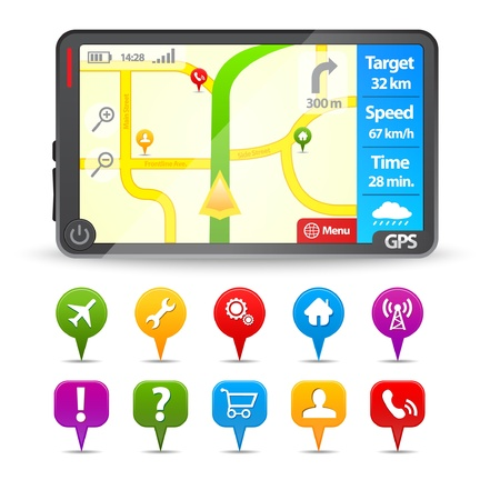 Modern Gps with colorful map pointers  Vector