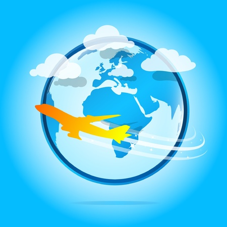 Orange airplane flying around the world Stock Vector - 9611733