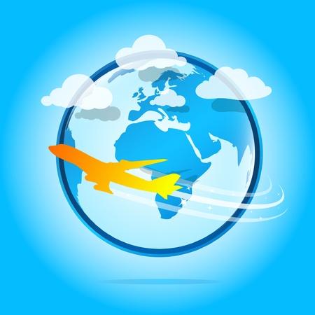 immigration: Orange airplane flying around the world