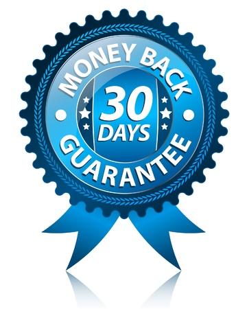 guarantee seal: Etiqueta de 30 d�as de devoluci�n de dinero  Vectores