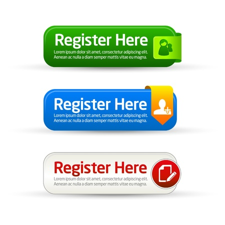 register: Register now modern minimal button collection