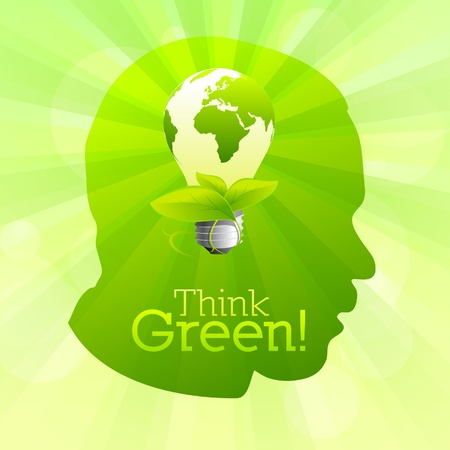 bio fuel: Green head silhouette with lightbulb idea think green Illustration