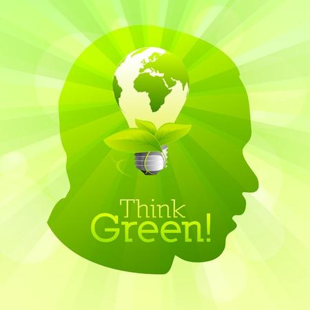 desechos organicos: Silueta de cabeza verde con la idea de bombilla piensa verde