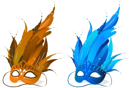 Brown and blue feather party masks  Vector