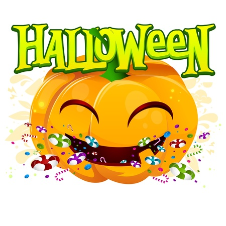 trick or treat: Cute pumpkin with halloween sign and candys Illustration