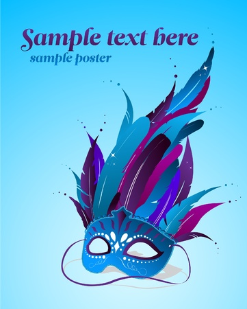 theatrical dance: Vector party mask poster template  Illustration