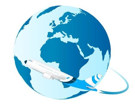 immigration: airplane flying around the world  Illustration