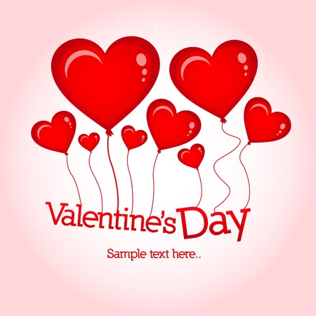 Valentine`s Day card with hearts and balloons  Vector