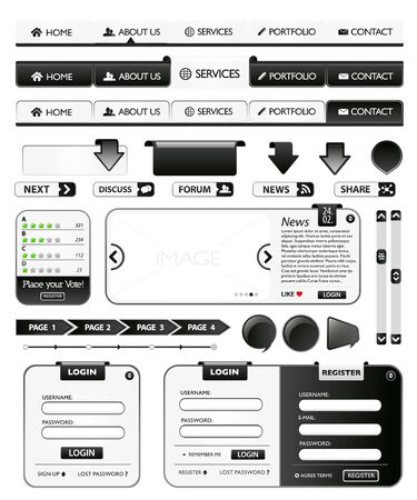 Collection of black web design elements Vector
