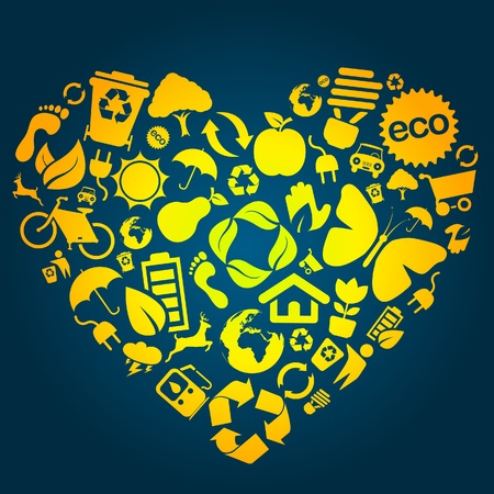 Heart made of eco icons  Vector