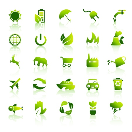 corporate waste: Environment icons set Illustration