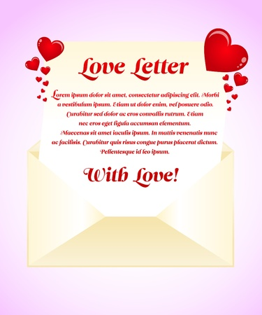 Red Love letter template Vector