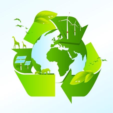 sustentabilidad: Tierra con el s�mbolo de la Papelera de reciclaje