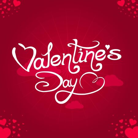 Valentine`s Day lettering with abstract hearts  Vector