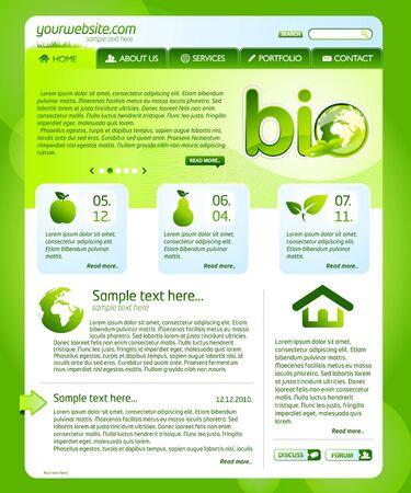 Green bio website template  Vector