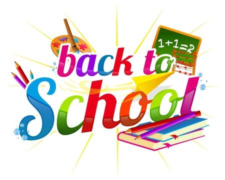 objetos escolares: Volver a la plantilla de vector de escuela Vectores