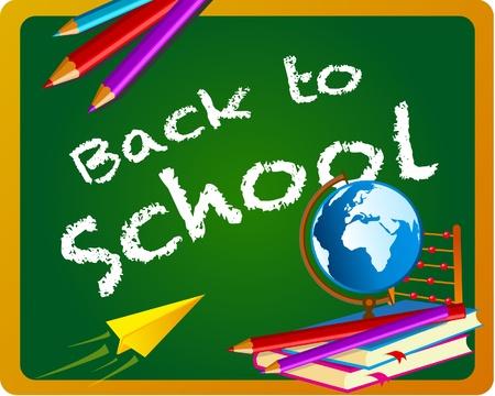 coloured pencils: Back to school chalkboard banner  Illustration