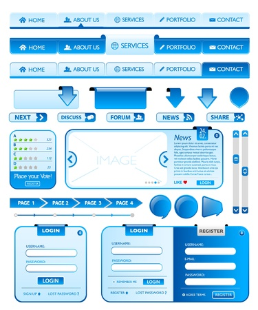 Big collection of blue web design elements Vector