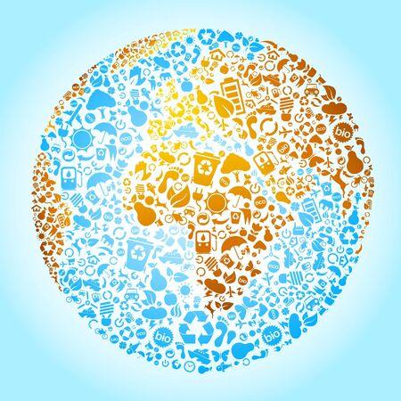 Environmental icons in a big globe  Vector
