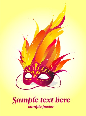theatrical dance: Party mask vector poster template
