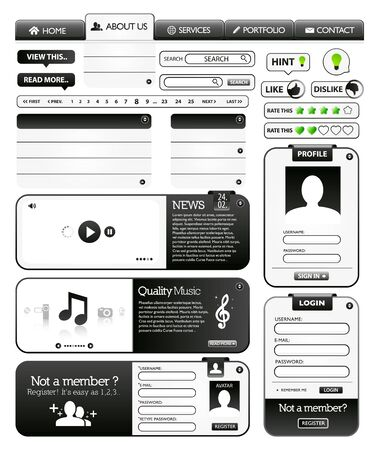 Collection of black web design Vector