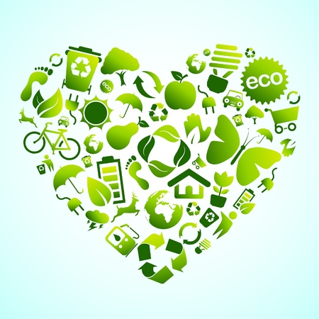 Eco green icon heart Vector