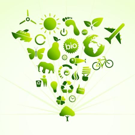 icono ecologico: �rbol de icono de eco  Vectores