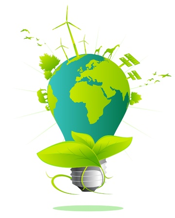 sustentabilidad: Bombilla de luz de la tierra  Vectores