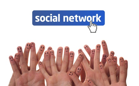 Happy group of finger faces as social network Stock Photo - 9702955