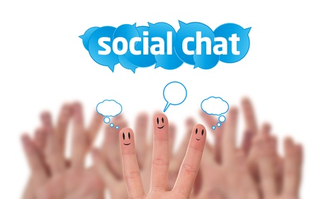 Happy group of finger smileys with social chat sign and speech bubbles  Stock Photo - 9702958