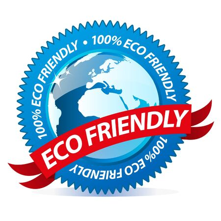 Blue eco friendly badge Stock Vector - 9945938