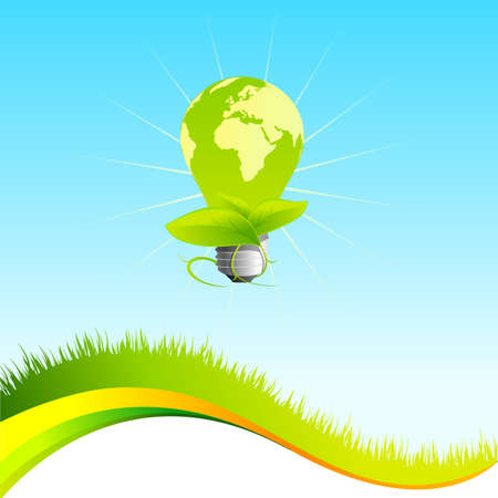 Vector eco template with lightbulb Illustration