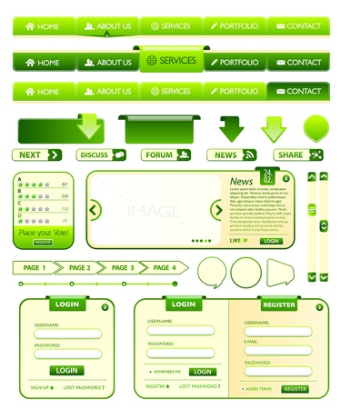 page down: Web elements green collection Illustration
