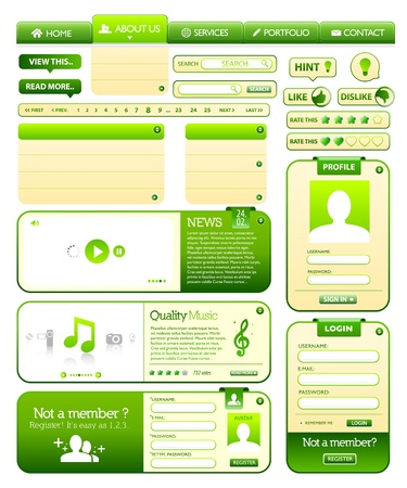 Web elements green collection Vector