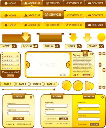 Web elements golden and brown collection Vector