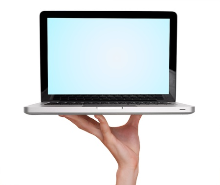 laptop hands: male hand holding a laptop, isolated on white