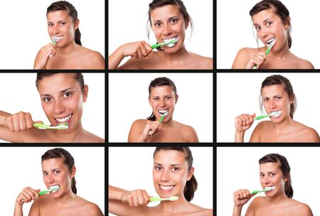 sequences: Collection of sequences of girl brushing her teeth