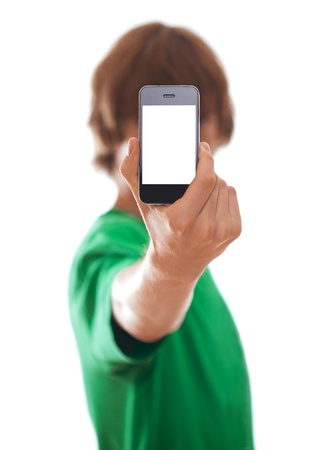 phone button: Young man holding modern phone, isolated on white [selective focus] Stock Photo
