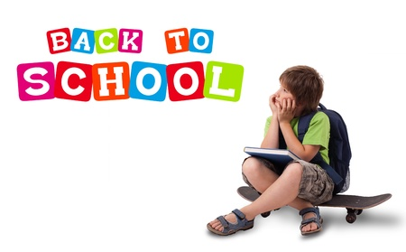 girls back to back: Kid sitting on skateboard with back to school theme isolated on white