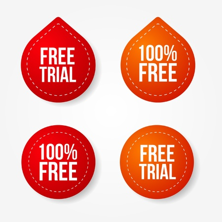 trials: Colorful free trial badges and stickers Illustration