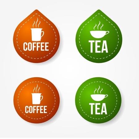 hot chocolate drink: Pegatinas y coloridos insignias de caf� y t� Vectores