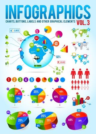 visualize: Colorful raccolta di vector infografica con i grafici, etichette e altri elementi grafici Vettoriali