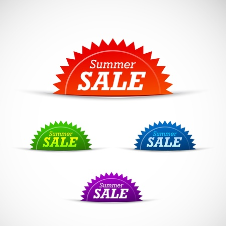 Colorful summer sale badges and tags Vector