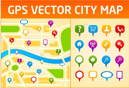 Gps vector city map with navigation icons Stock Vector - 10159915