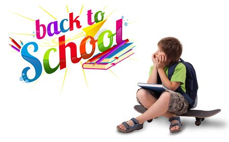 backpack school: Kid sitting on skateboard with back to school theme isolated on white