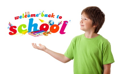 Boy with back to school theme isolated on white photo