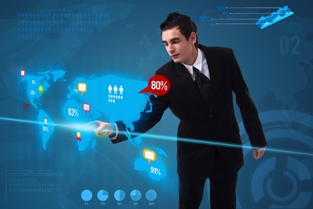 media event: Businessman pressing social media button on digital map, futuristic technology Stock Photo