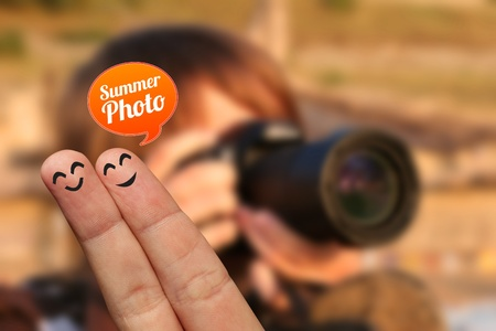 self image: Happy finger couple on vacation with summer photo bubble, selective focus Stock Photo