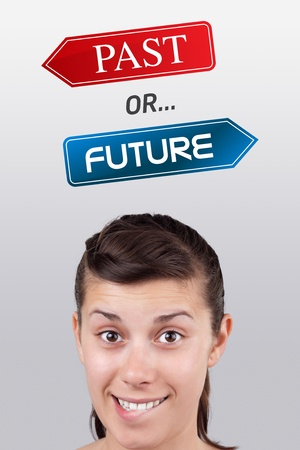 Young girl head looking with gesture at positive negative signs Stock Photo - 10687859